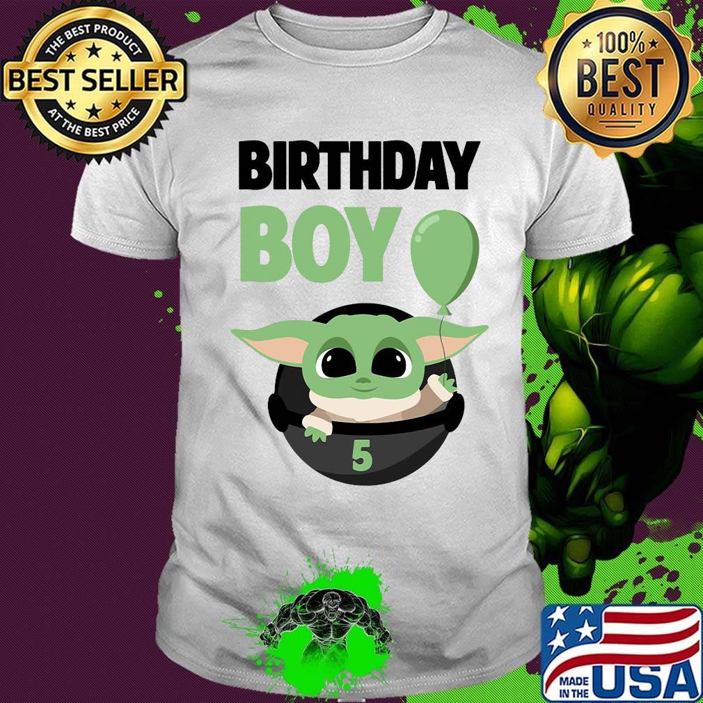 Star wars baby yoda birthday boy 5 balloon shirt, hoodie ...