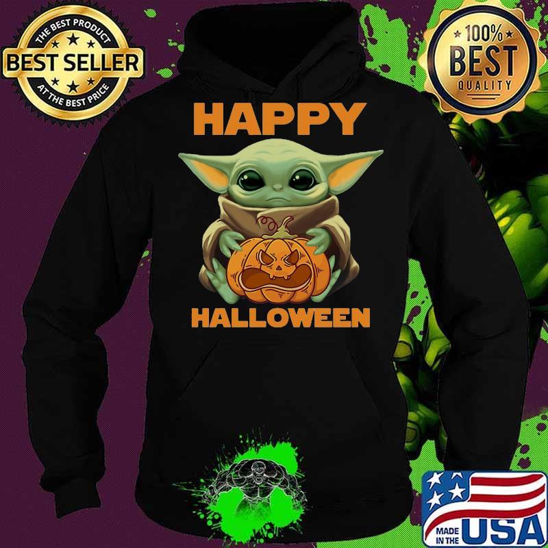 Happy Halloween Baby Yoda Hug Pumpkin Shirt Hoodie Sweater Long Sleeve And Tank Top