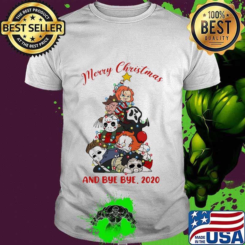 Top Halloween Shirts 2020 Merry christmas tree horror characters and bye bye 2020 halloween