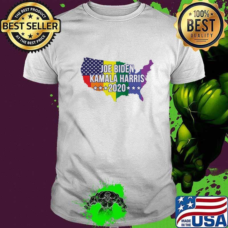 Official Joe Biden Kamala Harris 2020 Lgbt Us Flag Map Shirt Hoodie Sweater Long Sleeve And Tank Top