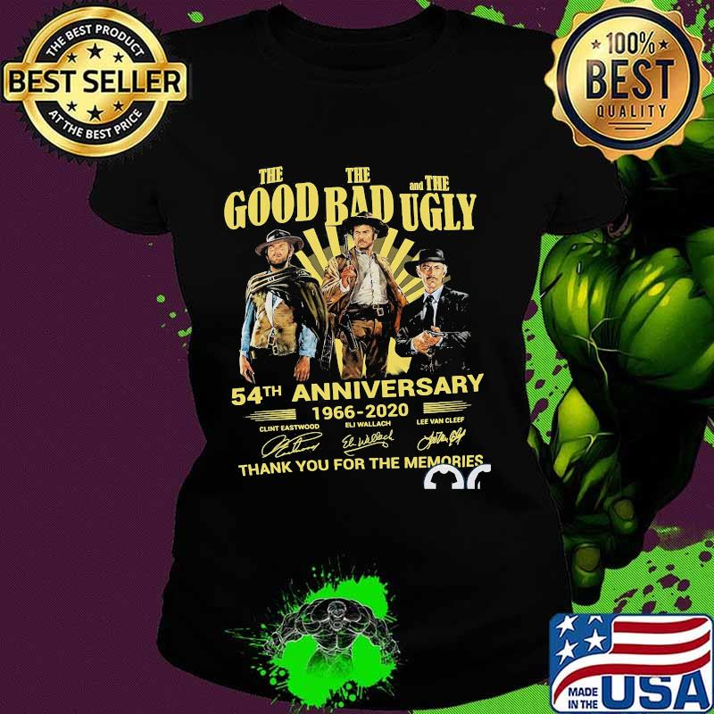The good the bad and the ugly 54th anniversary 1966 2020 thank you for the memories signatures s Ladies tee
