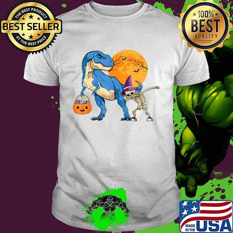 Dinosaur T rex With Dabbing Skeleton Pumpkin candy Halloween T-Shirt