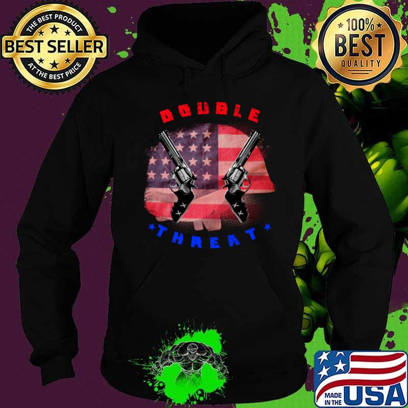 Double threat two guns American flag helmet T-Shirt Hoodie