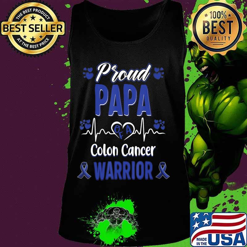 Proud Papa Colon Cancer Warrior Awareness Ribbon Blue T Shirt Hoodie Sweater Long Sleeve And Tank Top