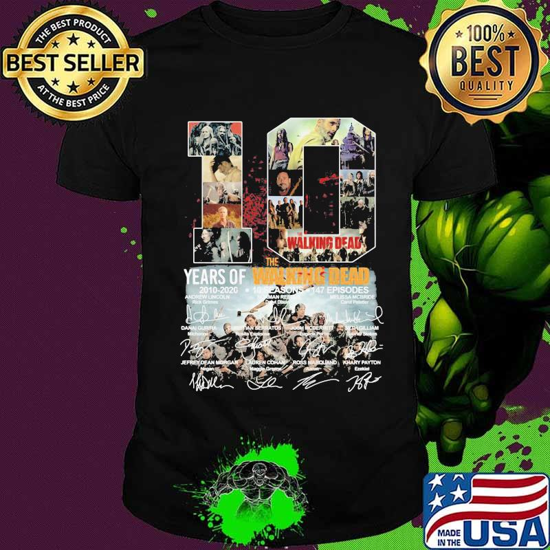 10 years of 2010 2020 the walking dead signatures shirt