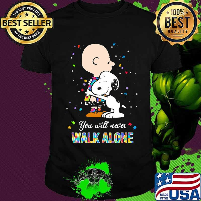Charlie brown and snoopy autism you will never walk alone shirt