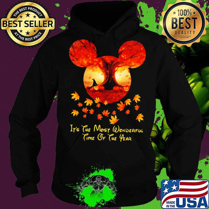 Halloween mickey mouse it's the most wonderful time of the year leaves map s Hoodie
