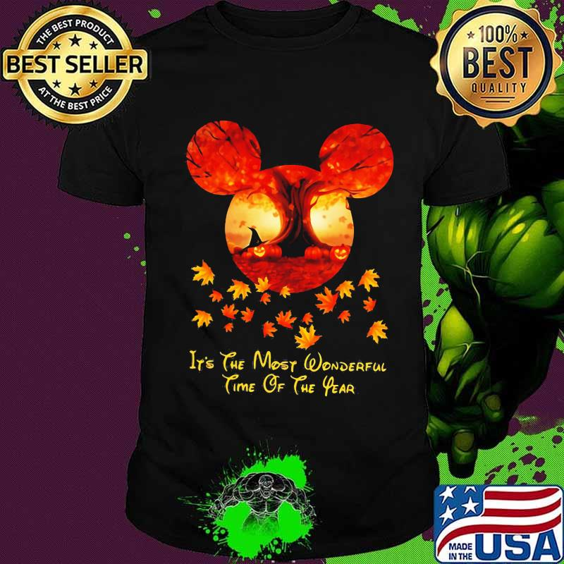 Halloween mickey mouse it's the most wonderful time of the year leaves map shirt