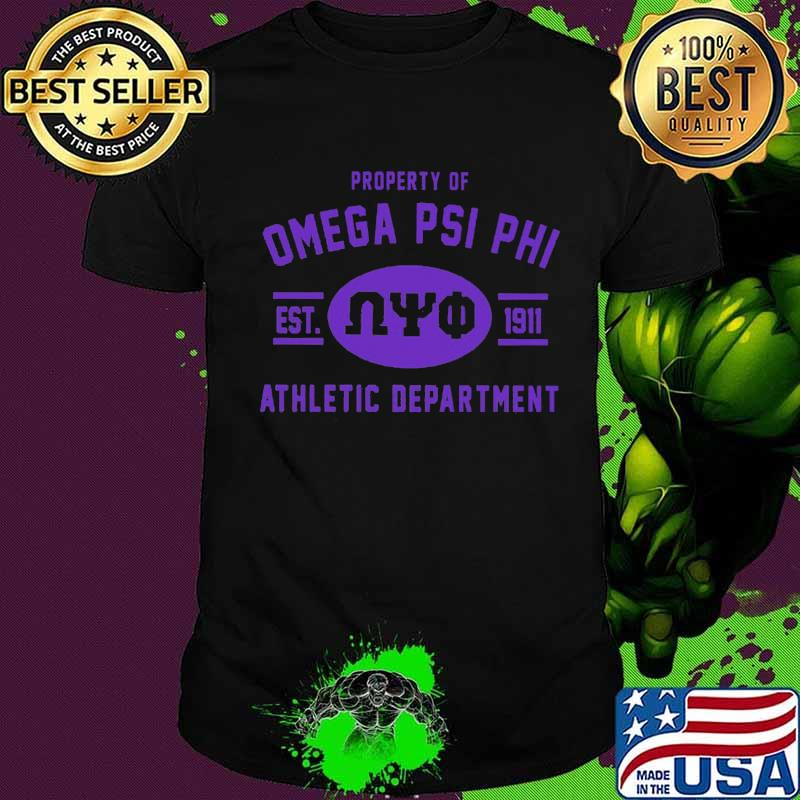 Property of omega psi phi deer since 1911 athletic department shirt