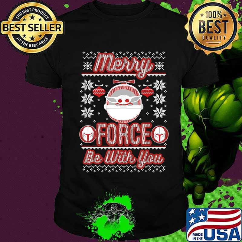 Star Wars The Mandalorian Christmas Merry Force Be With You T-Shirt