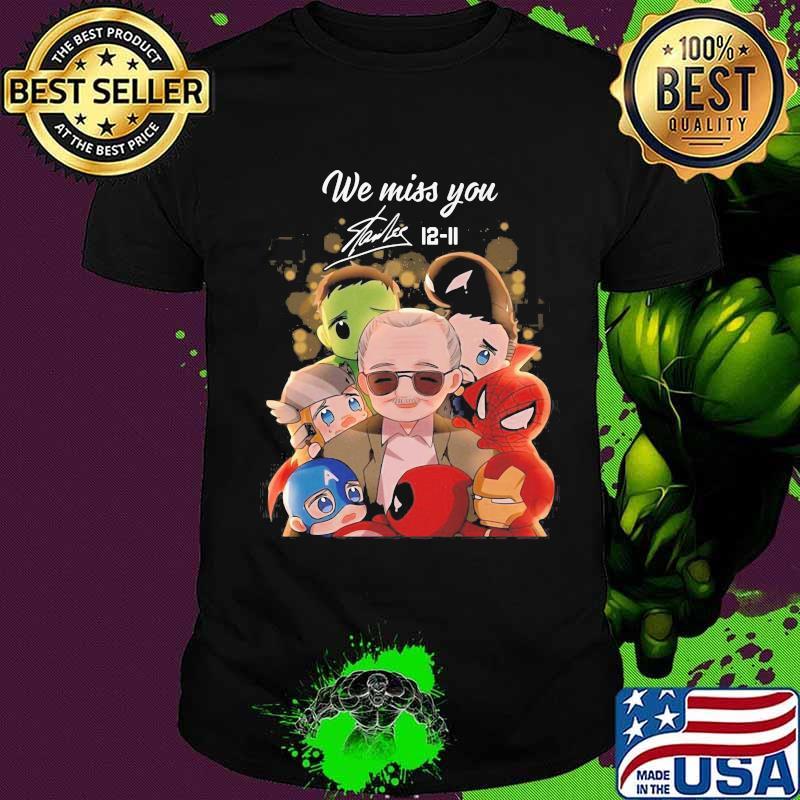We miss you stan lee 12 11 marvel heroes chibi signature shirt