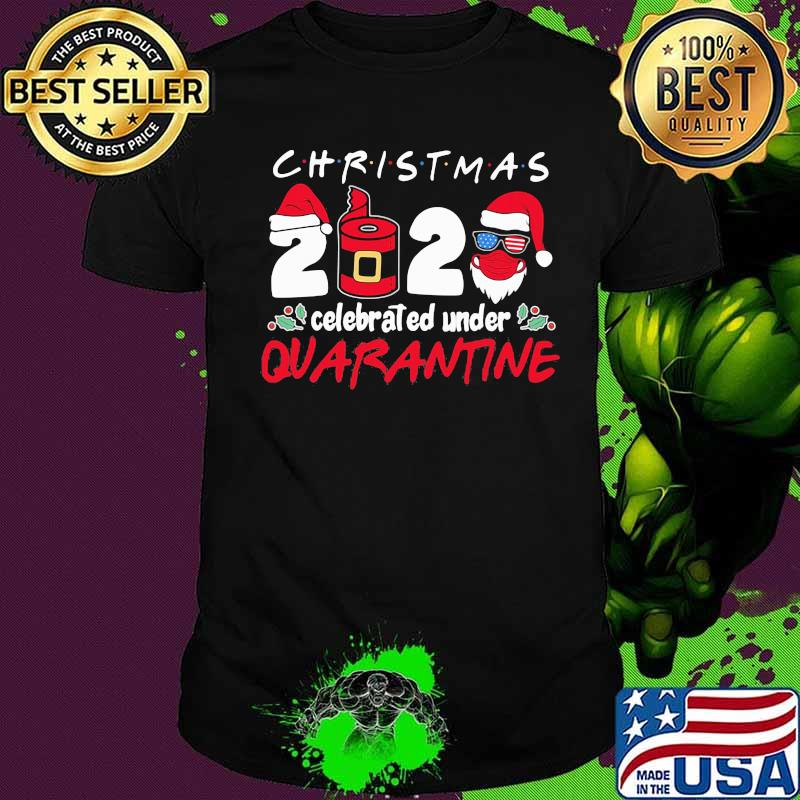 Christmas 2020 Celebrated Under Quarantine Sunglasses American Flag Hat Santa Wear Mask Shirt