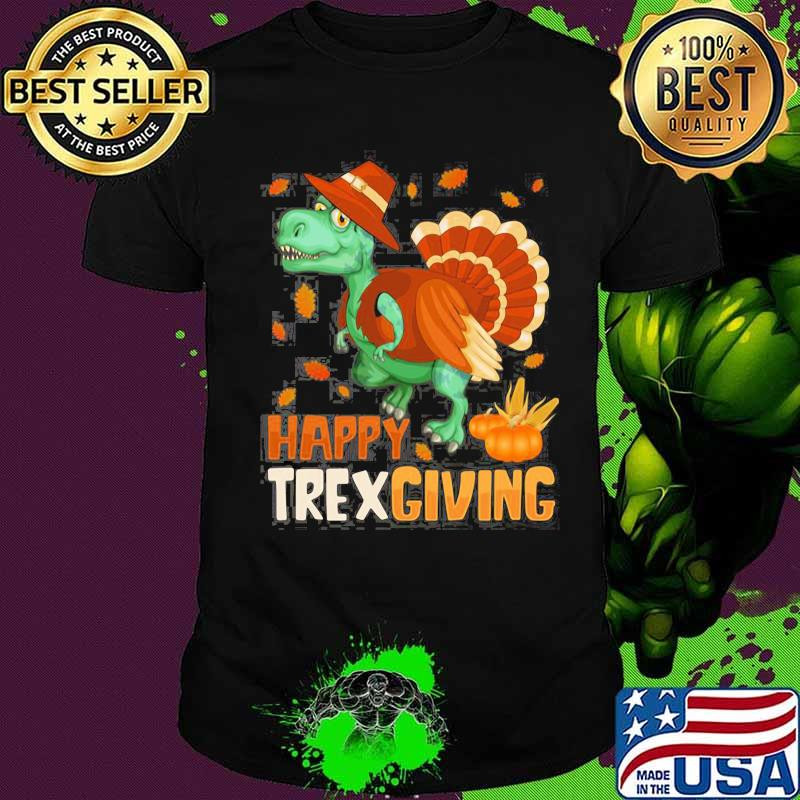 Happy Trexgiving Pumpkin Dinosaurs Tuckey Shirt