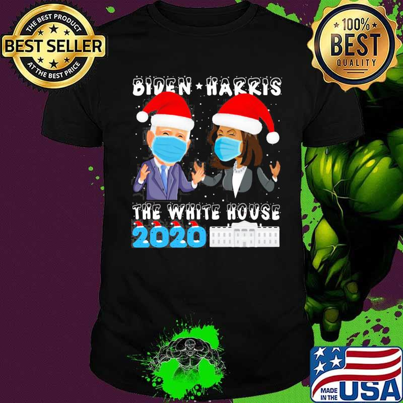 Joe Biden Kamala Harris The White House 2020 Wear Hat Santa Xmas And Mask Shirt