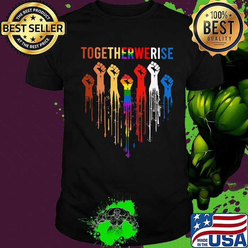 Lgbt together we rise heart black lives matter shirt