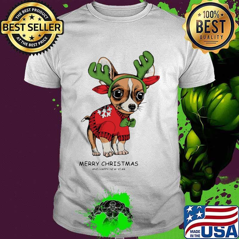 Merry Christmas And Happy New Year Dog Chihuahua Shirt