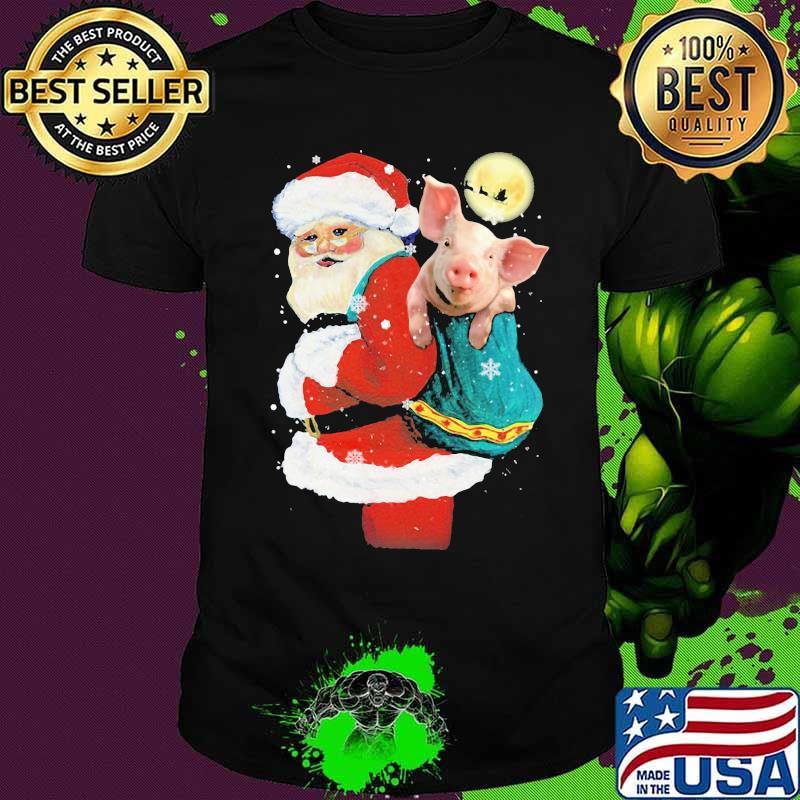 Merry christmas pig and santa claus shirt