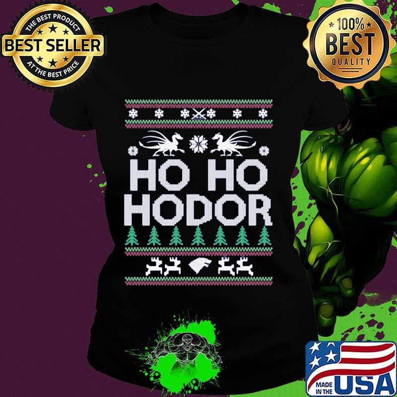 Official Ho Ho Hodor Toothless Merry Xmas Shirt Ladies tee