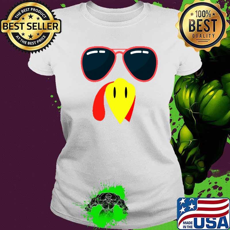 Silly Turkey Face Funny Thanksgiving Fall Joke Humor Shirt Ladies tee