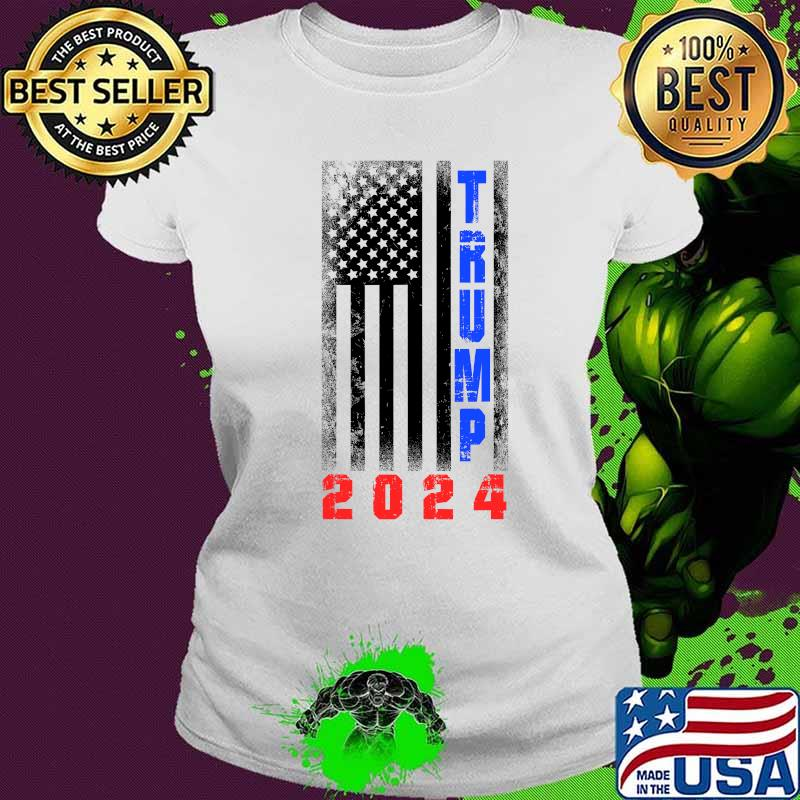 Trump President 2024 American Flag Shirt Ladies tee