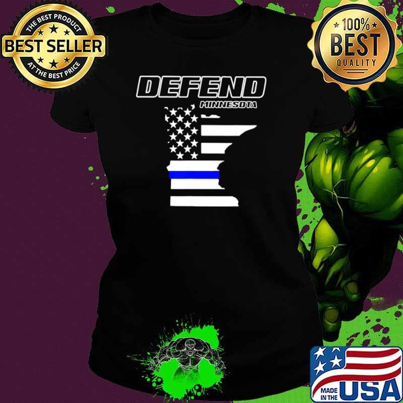 Minnesota State Defend Police Officer Support Blue American Flag Ladies tee