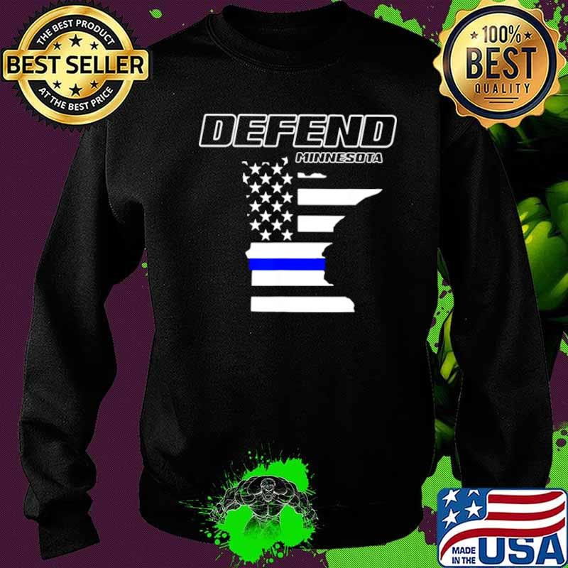 Minnesota State Defend Police Officer Support Blue American Flag Sweater