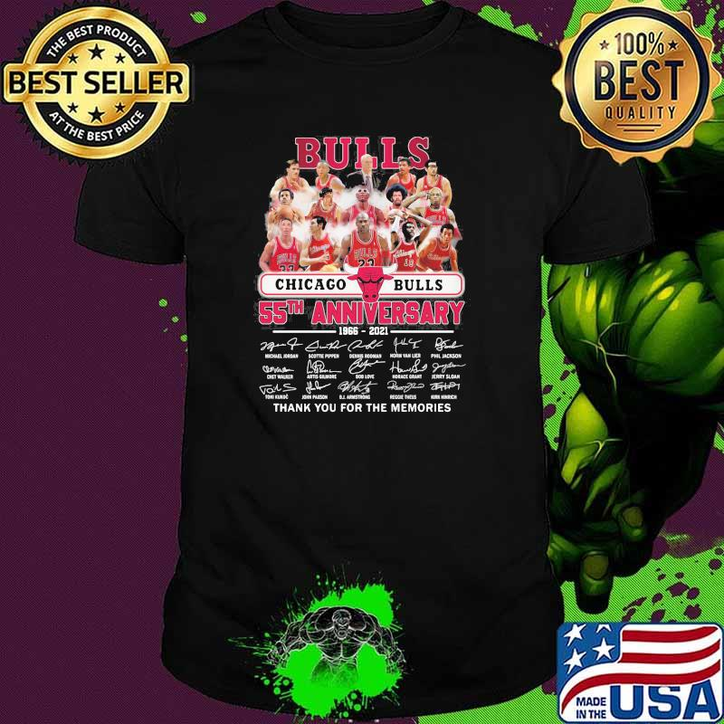 Chicago Bulls 55th anniversary 1966-2021 thank you for the memories signatures shirt