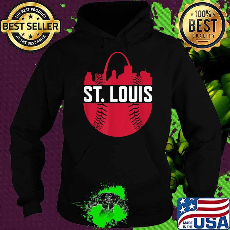 St. Louis Baseball STL Skyline Novelty Cardinal Red Ball Shirt Hoodie