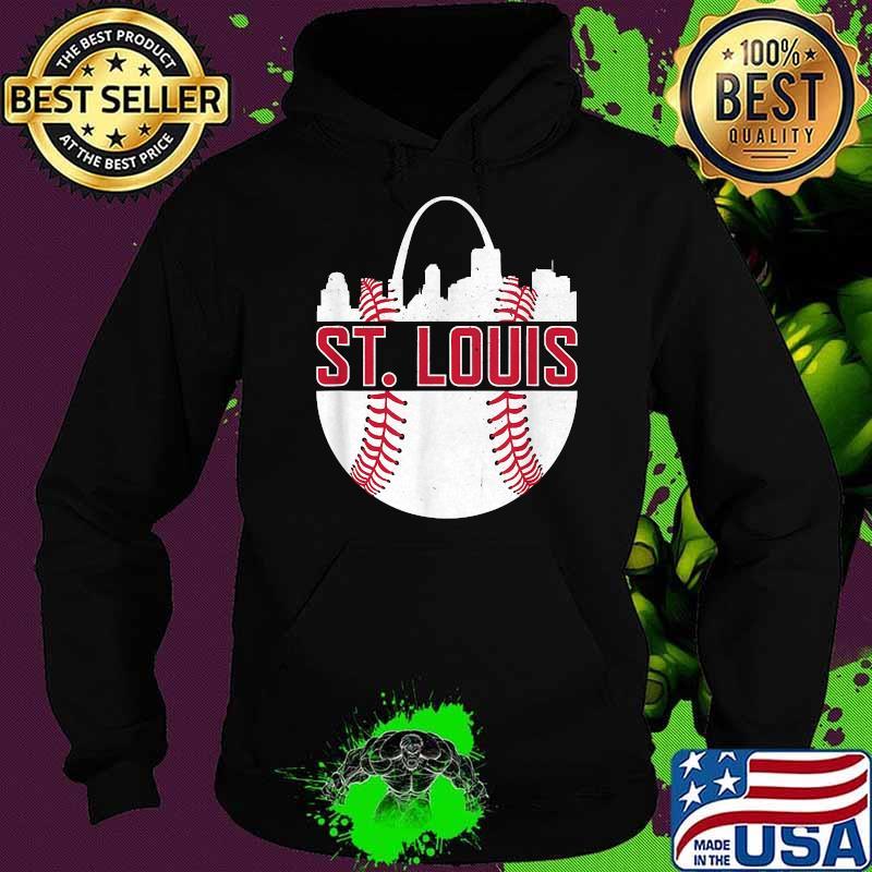 St. Louis Baseball STL Skyline Novelty Cardinal Shirt Hoodie