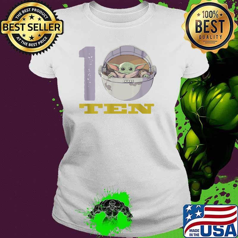 Star Wars The Mandalorian 10th Birthday Baby Yoda Shirt Ladies tee